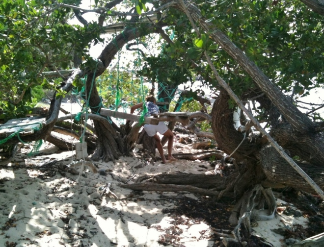 Tahiti Beach at high tide. I work my way around in search of sea glass; first climbing through a jungle gym in the trees