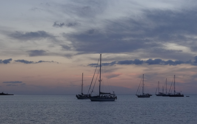 A classic sailboat sunset at Great Sale Cay