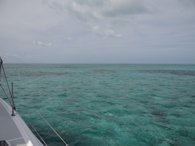 Anchored in Goodwill Channel, looking Northeast at nothing but water