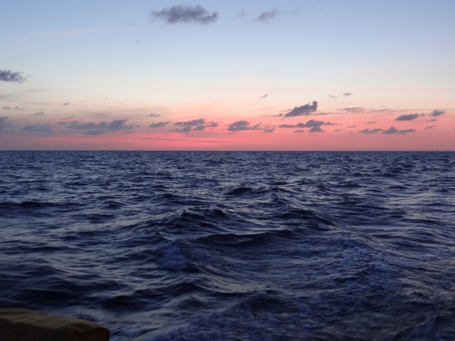 Sunrise... and the seas are down, so too the wind and with it our speed