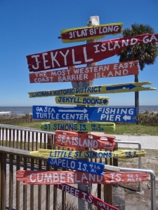 Signpost near Jekyll Island Market and the only photo by the ocean beach