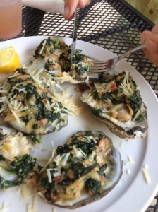 Oysters Fuskie- excellent. I think the greens are collards