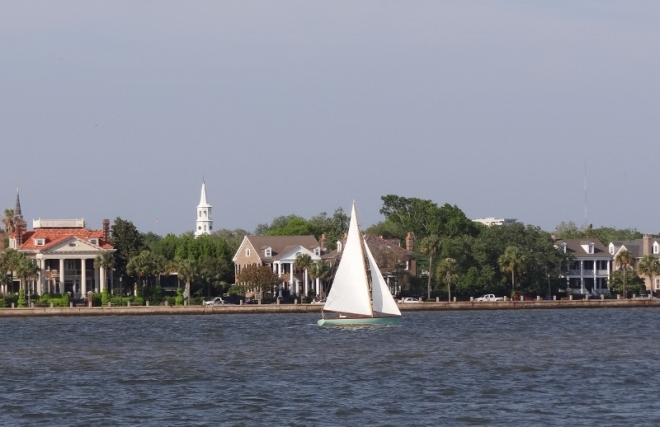 View of Charleston along the Ashley as seen from our off-channel anchoring spot