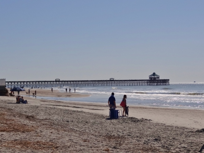 Folly Beach and the lonnnnng pier shortly after low tide