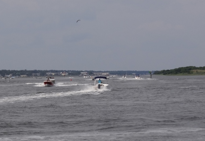 A very active ICW on Sunday as we headed to Wrightsville Beach