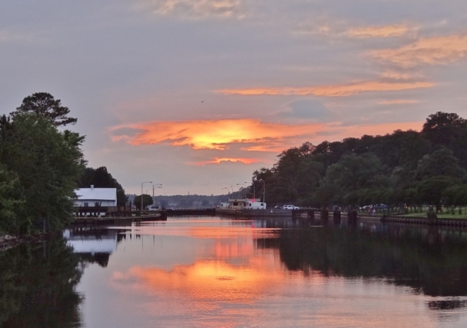 Sunset view of the lock at Great Bridge VA as seen from the free dock between the lock and bridge