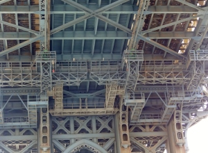 Looking up at the underside of the Manhattan Bridge