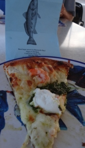 Kay's Choice- shrimp, cheese, fresh herbs and ricotta. Fantastic crust