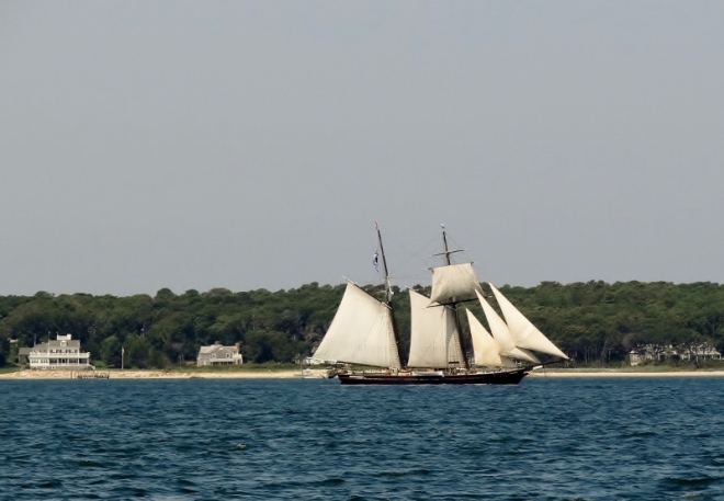 Sailing ship Shenandoah heads out of Vineyard Haven harbor