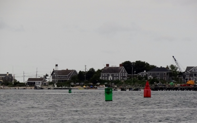 Looking at Woods Hole as we pass by in the passage en route to Hadley