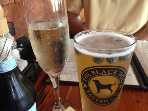 Proseco for me and Blueberry Ale for Russ