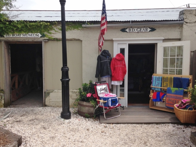 The Black Dog has it all: old wooden boat room on left and the store with those Tashmoo Tees on right