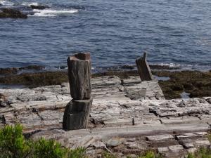 Unusual cairn on the rocks