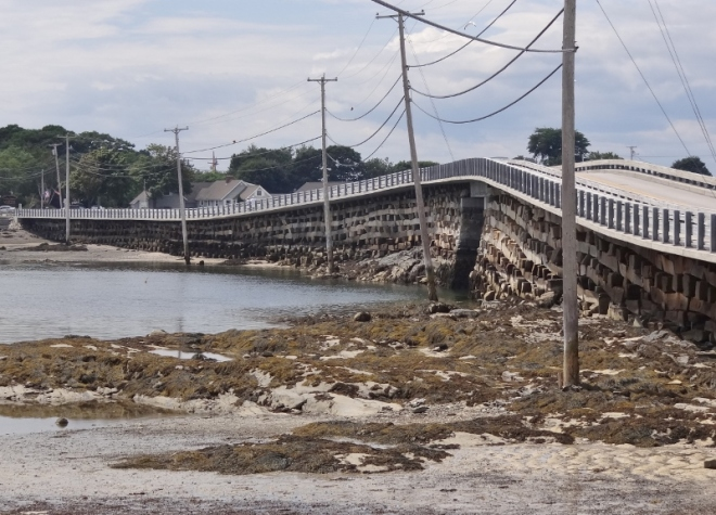 The cribstone bridge as viewed from the sea glass sandy beach side