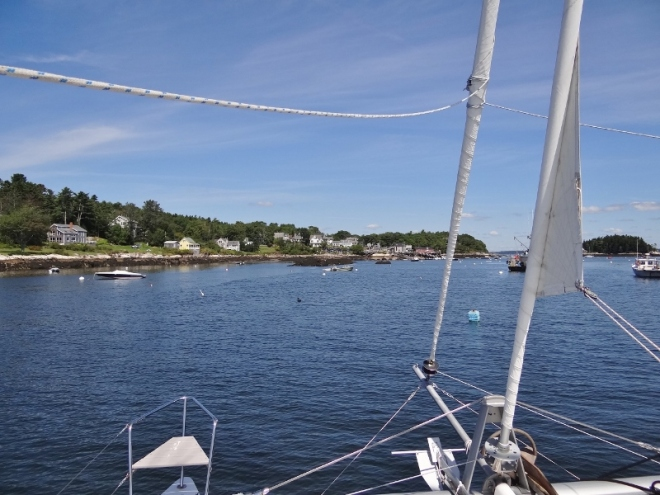Entering Five Islands harbor- tight but doable