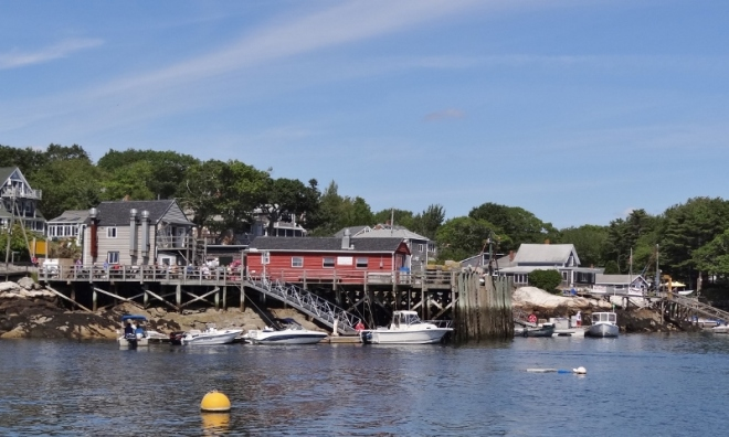 Our mooring happened to be right off the town dock and the Lobster Cos buildings