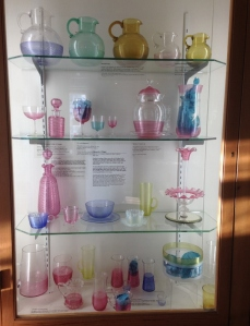 One of the many beautiful displays of blown and cut glass