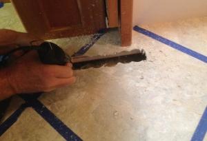 Two of the heat register openings were best cut by hole saw, then dremel