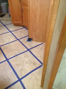 So many days would pass until we could grout that we taped the openings to keep out debris