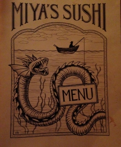 The cover of Miya's lengthy menu hints at the delightfully described choices within