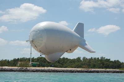 A close-up photo of the blimp at rest