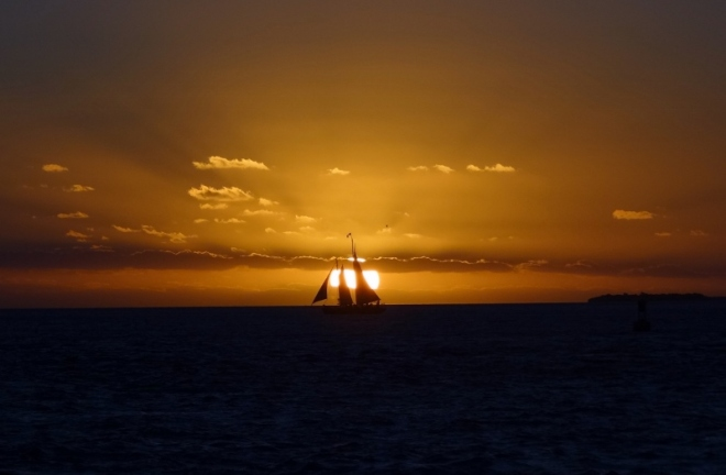 Sunset and the requisite sailing schooner at Mallory Square