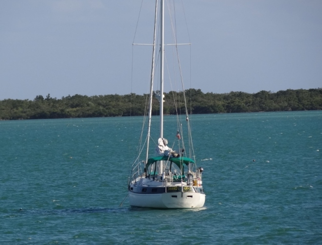 The Mardi Gras, anchored in Niles Channel next to Summerland Key