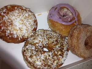 Two down, four to go. That's a Cronut on the right.