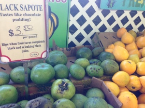 Black Sapote and Canistel on right- soft egg custard flavor