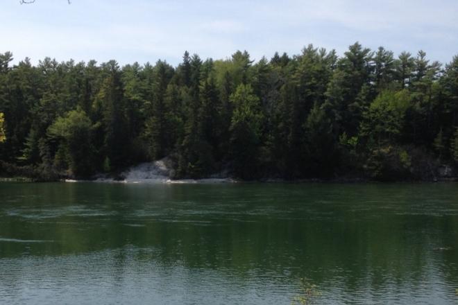 Larger shell midden across the river