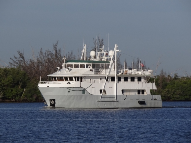 m/y Who Cares, from Peck Lake