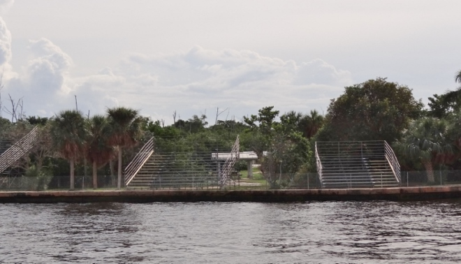 viewing stands for the huge boat parade Dec 12