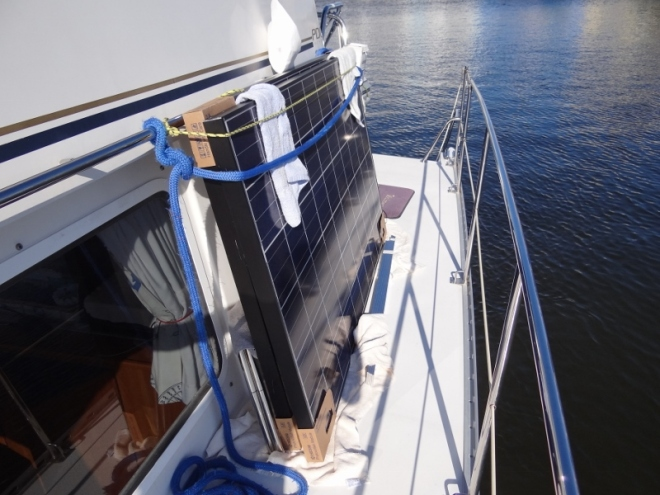 Solar project components loaded on board