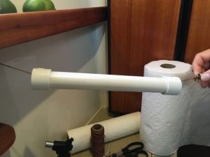 "New papertowel holder- heavy twine, 1""pvc tube with end caps"