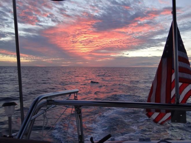 Sunset 6pm Bahama Banks approacing NW Chnl