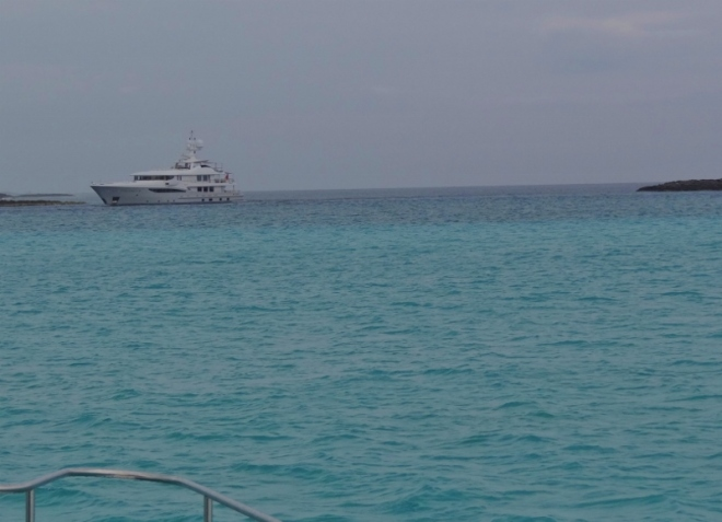 Yacht enters Rat Cay Cut as we approach to enter into Exuma Sound