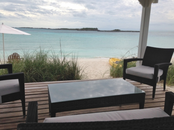 One of several cabanas overlooking the usually calm bank side, looking out to Oyster Cay
