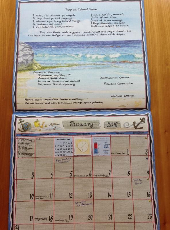 Our favorite souvenir- Bahamas calendar