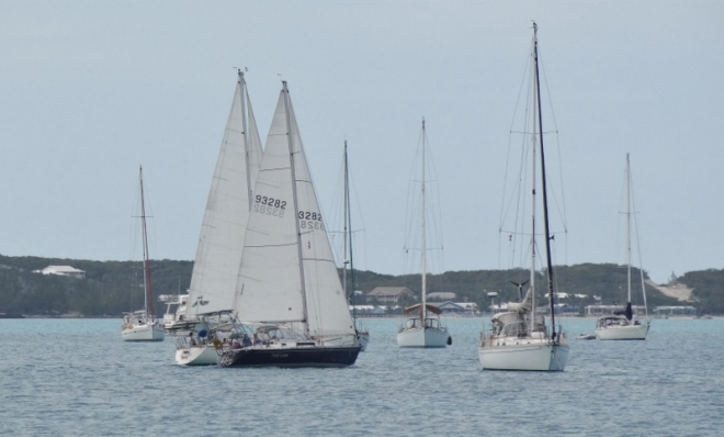 George Town cruising regatta- in harbor race with precious little wind
