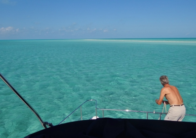 Anchored off Cave Cay sand bar