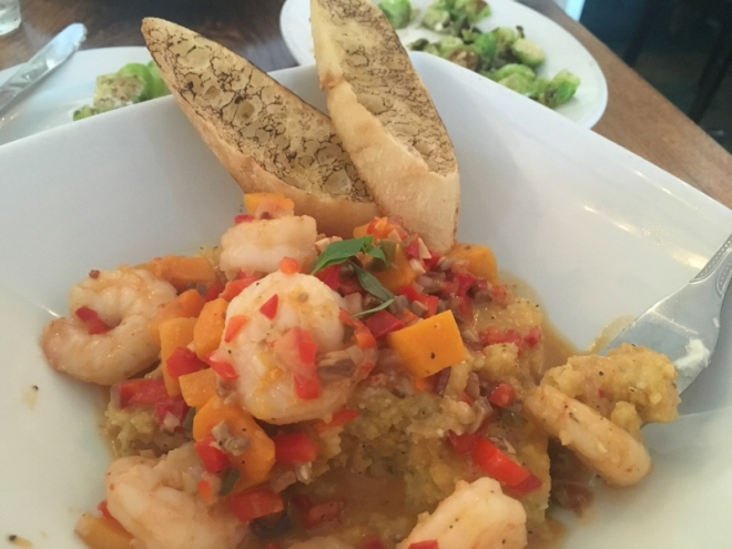 Surf House: Shrimp & Grits, smokey bread, roasted Brussel sprouts with Burata and chopped cashews- compliments of the chef- delish
