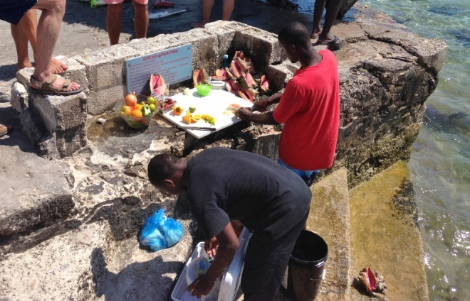 Fresh conch salad making at Staniel