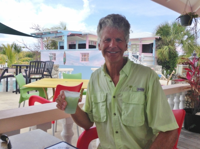 Leanin' Lizard at Leeward YC, Green Turtle Cay. Isn't it great how Russ's drink matches his shirt?