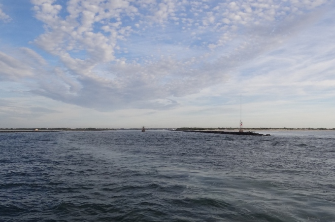 Looking back as we pass the ends of the jetties