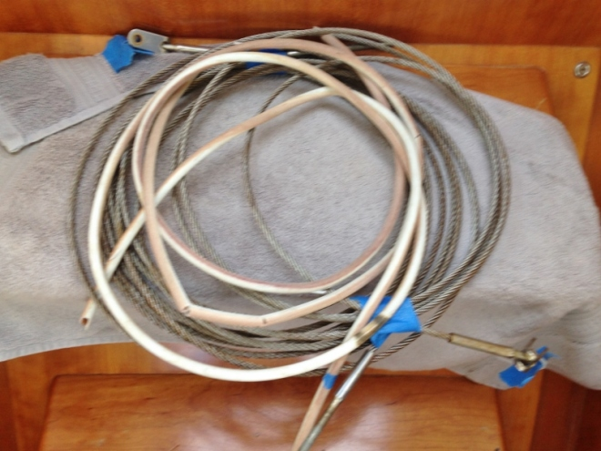 A few of the removed lifelines with discolored vinyl removed