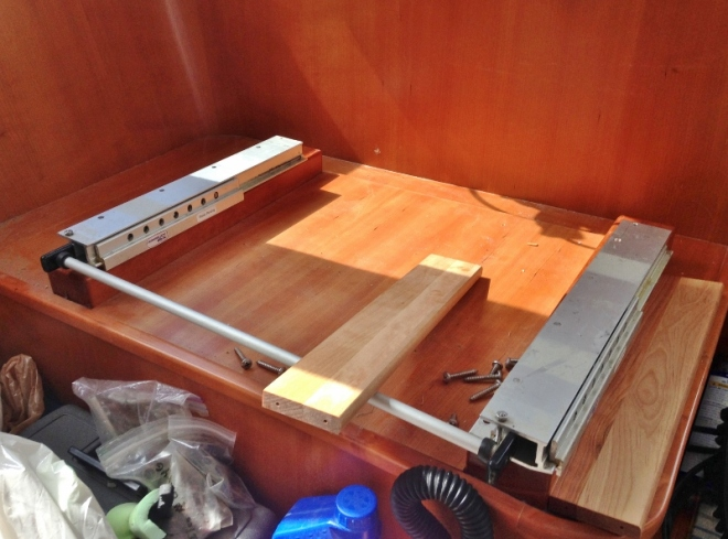 Raising helm seat -unused spice rack pieces from Catskill Craftsmen RV cabinet