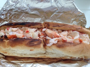 Deeply stuffed grinder roll perfectly toasted and loaded with fresh cooked lobster drnched in not too salty butter- heaven