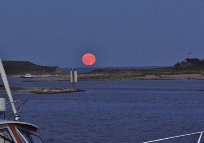 Full moon rising as seen from Cuttyhunk looking toward the Vineyard