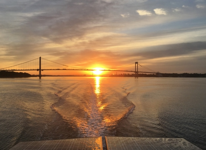 just before 7am Looking back at Throgs Neck Bridge