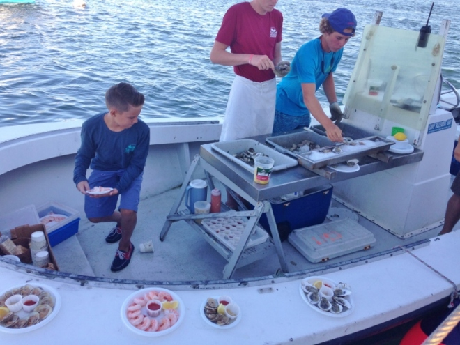 The younger generation works the Raw Bar at Cuttyhunk